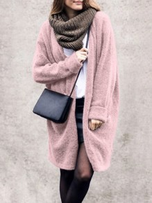 Pink Draped No Buttons Fur Plus Size Slouchy Casual Coat