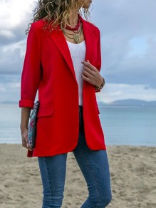 Red Pockets Turndown Collar Long Sleeve Fashion Coat