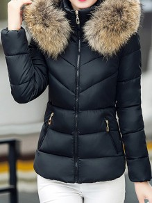 Black Patchwork Zipper Pockets Fur Hooded Long Sleeve Casual Coat