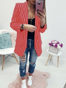 Red Striped Pockets Turndown Collar Fashion Coat