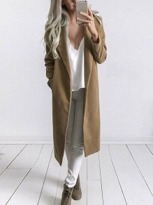 Khaki Long Sleeve Tailored Collar Sweet Going out Casual Outerwear