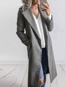 Grey Long Sleeve Tailored Collar Sweet Going out Casual Outerwear