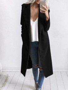 Black Long Sleeve Tailored Collar Sweet Going out Casual Outerwear