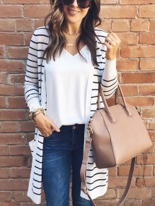 Black Striped Print Pockets Long Sleeve Fashion Cardigan Coat