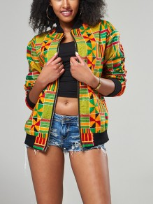 Yellow Geometric Tribal Print Aztec Dashiki Zipper Pockets Long Sleeve Streetwear Vintage Casual Coat
