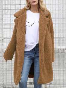 Brown Faux Fur Pockets Turndown Collar Long Sleeve Coat