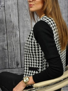 Black Plaid Pockets Long Sleeve Casual Going out Outerwear