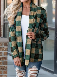 Green Plaid Turndown Collar Long Sleeve Casual Coat