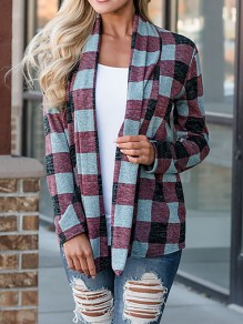 Purple Plaid Turndown Collar Long Sleeve Casual Coat