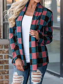 Pink Plaid Turndown Collar Long Sleeve Casual Coat