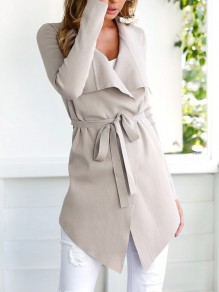 Light Pink Sashes Irregular Turndown Collar Fashion Coat