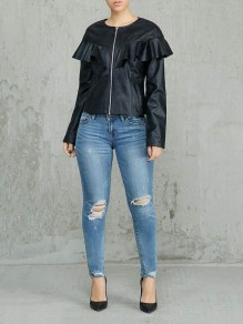 Black Ruffle Zipper Long Sleeve PU Leathe Casual Outerwear
