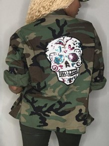Army Green Camouflage Skull Print Camo Pockets Patchwork Sequin Office Worker Daily Outerwear