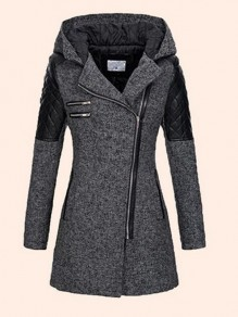 Dark Grey Patchwork Zipper Pockets Hooded Long Sleeve Elegant Coat