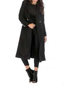 Black Studded Buttons Pockets Turndown Collar Long Sleeve Casual Coat