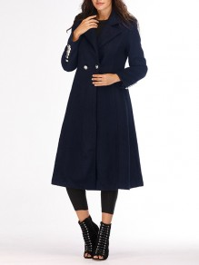 Navy Blue Studded Buttons Pockets Turndown Collar Long Sleeve Casual Coat
