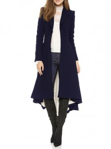 Navy Blue Studded Irregular Draped Turndown Collar Long Sleeve Elegant Coat
