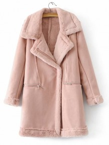 Pink Patchwork PU Leather Pockets Zipper Turndown Collar Fashion Outerwear