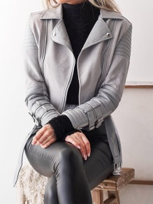 Grey Pockets Zipper Pockets PU Leather Turndown Collar Fashion Outerwear
