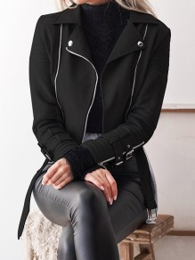 Black Pockets Zipper Belt Turndown Collar PU Leather Fashion Jacket