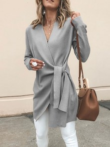 Grey Sashes V-neck Long Sleeve Casual Coat