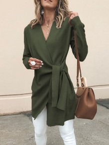 Army Green Sashes V-neck Long Sleeve Casual Coat