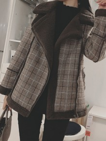 Coffee Plaid Fur Zipper Pockets V-neck Fashion Outerwear