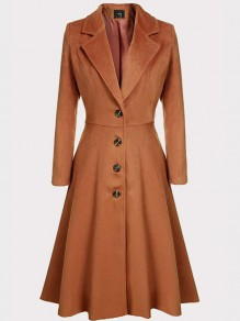 Brown Single Breasted Turndown Collar Long Sleeve Fashion Coat