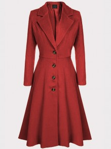 Red Single Breasted Turndown Collar Long Sleeve Fashion Coat