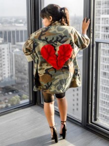 Army Green Camouflage Broken Heart Pattern Pockets Turndown Collar Casual Trench Coat