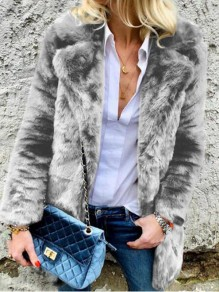 Grau Faux Fur Langarm Dicker Warmer Mantel Fellimitat Jacke Kunstfell Pelzmantel Damen Mode