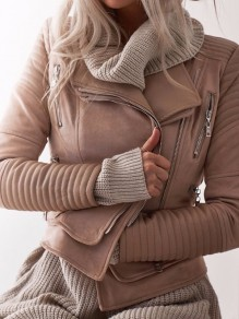 Beige Patchwork Zipper Turndown Collar Fashion Coat