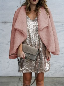 Pink Faux Fur Turndown Collar Long Sleeve Fashion Going out NYE Party Teddy Cardigan Coat