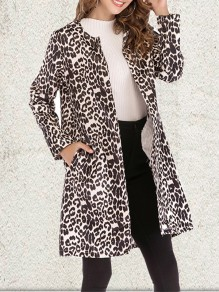 Brown Leopard Pockets Collarless Fashion Outerwear