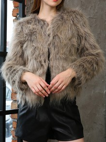 Coffee Faux Fur Round Neck Long Sleeve Fashion Coat