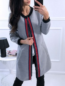 Grey Striped Long Sleeve Casual Going out Sweet Outerwear