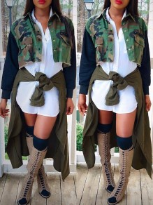Camouflage Single Breasted Pockets Rivet Long Sleeve Short Casual Jacket Outerwear
