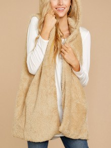 Khaki Irregular No Buttons Fluffy Comfy Casual Fashion Hooded Cardigan Vest Coat
