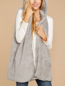 Grey Irregular No Buttons Fluffy Comfy Casual Fashion Hooded Cardigan Vest Coat