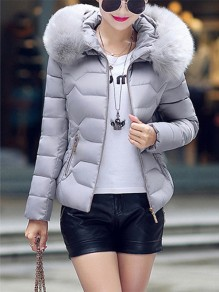 Grey Patchwork Fur Pockets Zipper Hooded Long Sleeve Casual Coat