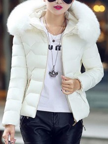 White Patchwork Fur Pockets Zipper Hooded Long Sleeve Casual Coat
