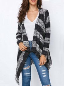 Grey-Black Striped Irregular Tassel Draped Collar Knit Casual Coat