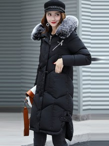 Black Patchwork Fur Pockets Single Breasted Side Slit Hooded Zipper Long Sleeve Coat