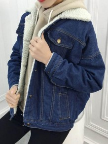 Dark Blue Pockets Single Breasted Turndown Collar Long Sleeve Jeans Coat