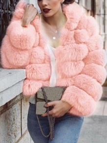 Pink Faux Fur Hooded Long Sleeve Bubble Fur Coat