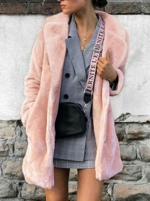 Pink Faux Fur Pockets Turndown Collar Long Sleeve Fashion Coat