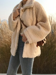 Beige Teddy Fur Single Breasted Turndown Collar Long Sleeve Casual Cute Coat