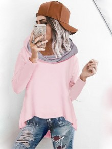 Pink Irregular Hooded Long Sleeve Fashion Pullover Coat