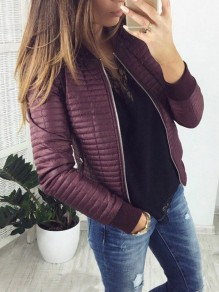 Purple Zipper Long Sleeve Fashion Casual Coat