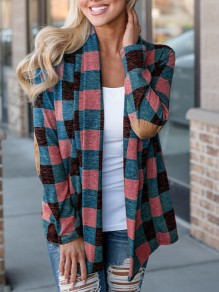 Pink Plaid Print Long Sleeve Casual Outerwear